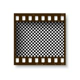 Realistic retro frame of 35 mm filmstrip with shadow isolated on white background. Transparent negative cadre. Vector illustration Stock Photos