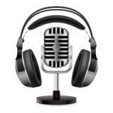 Realistic retro microphone and headphones Stock Photos