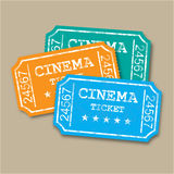 Realistic retro paper cinema tickets Royalty Free Stock Photography
