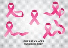 Realistic ribbon of the month to fight breast cancer. stock illustration