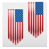 Realistic ribbons of American Flag. Stock Photos