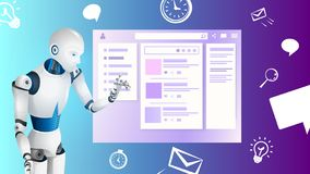 Realistic Robot Touch Digital Screen or Monitor. Chatbot Virtual Assistant of Mobile Application. Artificial Intelligence Automation Future Industrial royalty free illustration