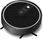 Realistic robotic vacuum cleaner gray with a brush. Vector Royalty Free Stock Photo