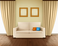 Realistic Room Interior. With luxury window curtain sofa pillows frames and parquet floor vector illustration Stock Image
