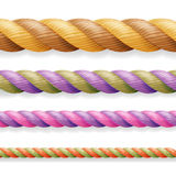 Realistic Rope Vector. Different Color Thickness 3d Rope Line Set Multicolored Twisted Nautical Cord. Isolated On White Background Royalty Free Stock Photography