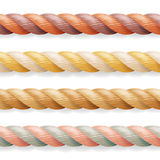 Realistic Rope Vector. Different Color Thickness 3d Rope Line Set Multicolored Twisted Nautical Cord. Isolated On White Background Royalty Free Stock Image