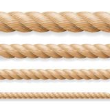 Realistic Rope Vector. Different Thickness Rope Set Isolated On White Background. Illustration Of Twisted Nautical Thick Lines. Gr Royalty Free Stock Photos