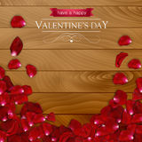 Realistic rose petals on a dark wooden background. Valentines day card Stock Image