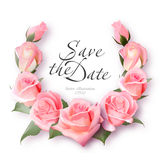 Realistic rose wreath. Delicate pink roses frame. Vintage Wedding Invitation Card. Elegant Floral Frame with Beautiful. Roses. Save the date lettering. Vector Stock Photos