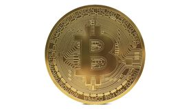 Realistic Rotating bitcoin on a white background. Looping. Digital coin made of gold. Cryptocurrency concept. royalty free illustration