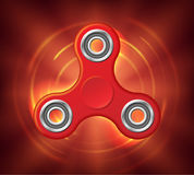 Realistic rotating red spinner stylized in a fire. Fidget spinner toy burns in space. Vector illustration Royalty Free Stock Images