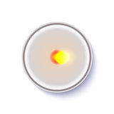 Realistic round candle in a metal case isolated on white backdrop. Stock Photography