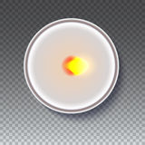 Realistic round candle in a metal case  on transparent backdrop. Stock Image