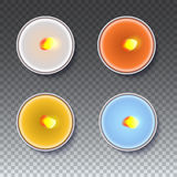 Realistic round candles in a metal case  on transparent backdrop. Stock Photos