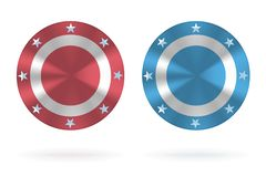 Realistic round shields with stars vector illustration