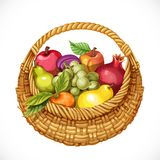 Realistic round wicker basket filled with fruits Stock Image