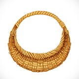 Realistic round wicker basket Royalty Free Stock Image