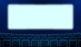 Realistic rows of blue chairs cinema and white blank screen in the darkness. Cinema auditorium and movie theater seats facing vector illustration
