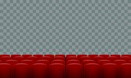 Realistic Rows of red cinema movie theater seats on transparent background. Illustrated vector Stock Images