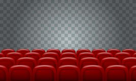 Realistic Rows of red cinema movie theater seats on transparent background. Illustrated vector Stock Photo