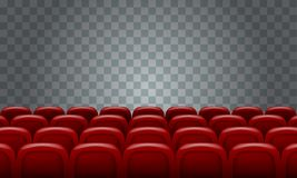 Realistic Rows of red cinema movie theater seats on transparent background. Illustrated vector Stock Photos