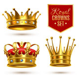 Realistic Royal Crown Icon Set Royalty Free Stock Images