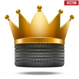 Realistic rubber tire with a golden crown Stock Photos