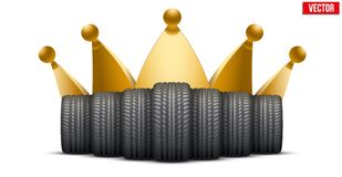 Realistic rubber tires banner with a golden crown Royalty Free Stock Photography
