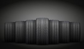 Realistic rubber tires banner. Vector Illustration Royalty Free Stock Photo