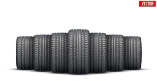 Realistic rubber tires banner. Vector Illustration Stock Images