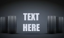 Realistic rubber tires and spikes banner. Vector Royalty Free Stock Image