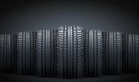 Realistic rubber tires and spikes banner. Vector Royalty Free Stock Images