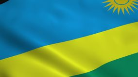Realistic Rwanda flag stock video