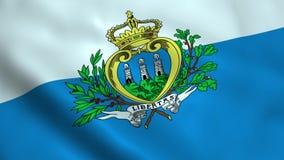Realistic San Marino flag. Waving in the wind Stock Photos