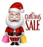Realistic Santa Claus Cartoon Character Holding Shopping Bags Stock Photo