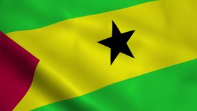 Realistic Sao Tome and Principe flag. Waving in the wind Stock Image