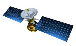 Realistic satellite. 3d render satelit illustration. Satelite isolated on white background.  stock illustration