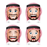 Realistic Saudi Arab Man Head with Different Facial Expressions. Set of 3D Realistic Saudi Arab Man Head with Different Facial Expressions Wearing Thobe Avatar Royalty Free Stock Photo