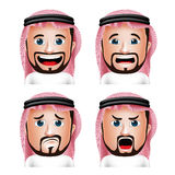 Realistic Saudi Arab Man Head with Different Facial Expressions Royalty Free Stock Photos