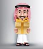 Realistic Saudi Arab Man Wearing Thobe Giving Golden Gift Stock Image