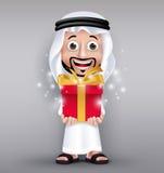 Realistic Saudi Arab Man Wearing Thobe Giving Red Gift Stock Image