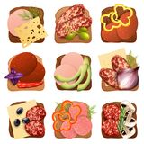 Realistic Sausage Sandwich Set Royalty Free Stock Photography