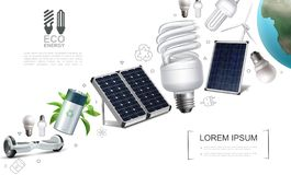Realistic Save Energy Elements Composition vector illustration