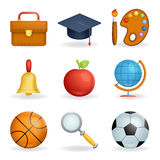 Realistic School icons education symbols set line art  3d design vector illustration Stock Photos