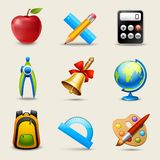 Realistic School Icons Set Stock Photo