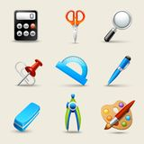 Realistic School Icons Set Stock Photography