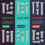 Realistic Screw Different Shapes Banner Vecrtical Set. Vector Royalty Free Stock Images