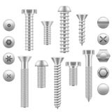 Realistic Screw Icon Set Different Shapes. Vector Royalty Free Stock Image