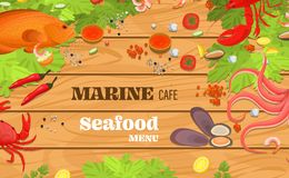 Realistic sea food top view background vector. Realistic sea food top view background. Fish restaurant seafood dishes food cooked from fish meat on a cutting royalty free illustration