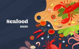 Realistic sea food top view background vector. Realistic sea food top view background. Fish restaurant seafood dishes food cooked from fish meat on a cutting stock illustration